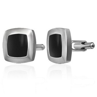 Urban Male Modern Stainless Steel & Black Resin Cufflinks