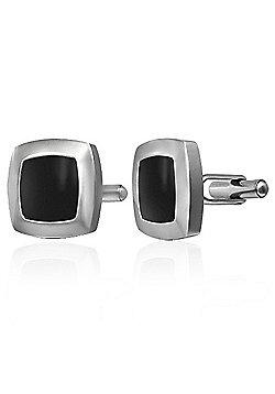 Urban Male Modern Stainless Steel & Black Resin Cufflinks