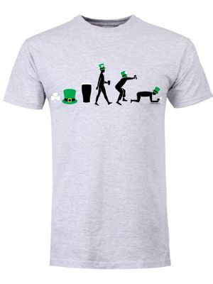 St Patrick's Day Evolution Grey Men's T-shirt