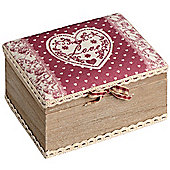 Love - Wood And Fabric Trinket / Jewellery Box - Red / Brown