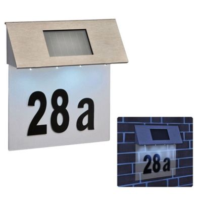 Kingavon 4 LED Solar Powered House Number, Steel, Silver