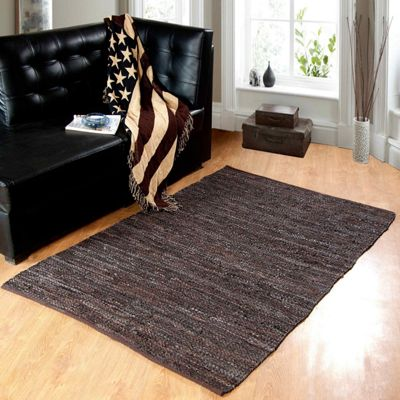 Homescapes Denver Leather Woven Rug Chocolate, 66 x 200 cm