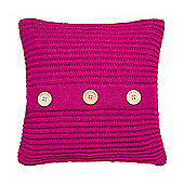 Catherine Lansfield Chunky Knit Cushion Cover - Raspberry