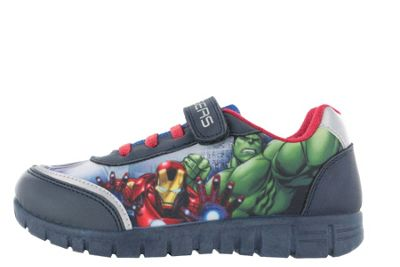 Avengers Blue Canvas Low Top Trainers Sports Shoes Hook & Loop UK Size 12