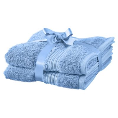 TESCO HYGRO COTTON 2 PACK HAND TOWELS BLUE