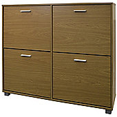 Xl Large 24 Pair Shoe Storage Cabinet - Oak