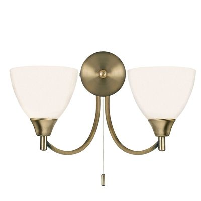 Alton 2 Light 60W Wall Light Antique Brass Plate Opal Glass Finish