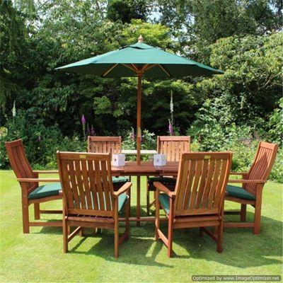 Beau BillyOh Sovereign 1.6m Rectangular Extending 6 Seater Wooden Garden  Furniture Set