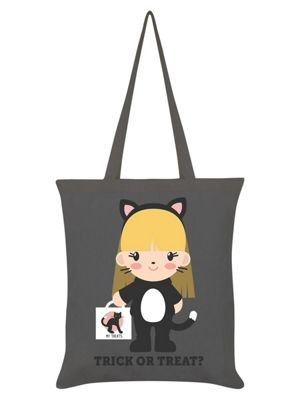 Trick Or Treat Kitten Tote Bag 38 x 42cm Graphite Grey