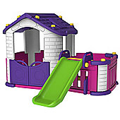 Sunshine Pink Modular Playhouse With Basketball Hoop, Slide & Kids Play Table