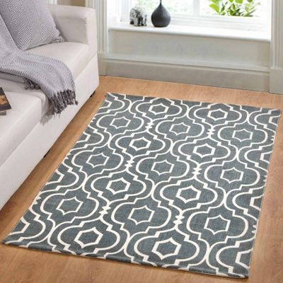 Homescapes Riga Handwoven Grey and White 100% Cotton Printed Patterned Rug, 66 x 200 cm