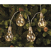 10 Light Bulb with Warm White Led Wire Lights on a String - Battery Powered