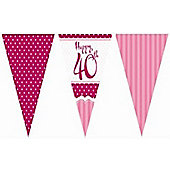 Perfectly Pink Happy 40th Birthday Bunting
