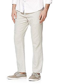 F&F Linen Blend Straight Leg Trousers - Stone