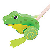 Bigjigs Toys Wooden Frog Push Along - Walking Toys for Babies and Toddlers