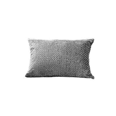 Sienna Glitter Velvet Filled Boudoir Cushion, Silver Grey - 30 x 50cm