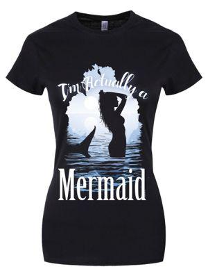 I'm Actually A Mermaid Women's T-shirt, Black.