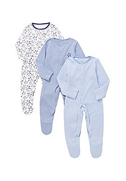 F&F 3 Pack of Star and Striped Print Sleepsuits - Blue