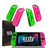 Orzly Nintendo Switch FlexiCases QUAD DOCK (Pink & Green)