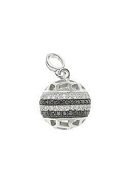 REAL Effect Rhodium Plated Sterling Silver Black & White Cubic Zirconia Mini Planet Style Charm Pendant - 16/18 inch