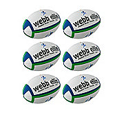 Webb Ellis Trainer Rugby Balls, 6 Pack, Size 3, Navy/Green