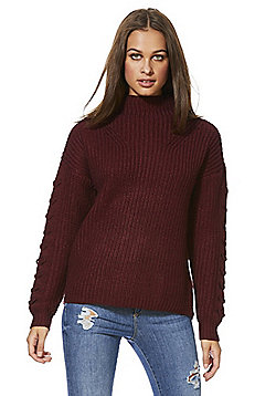 Vero Moda Chunky Knit Lace Sleeve Jumper - Burgundy