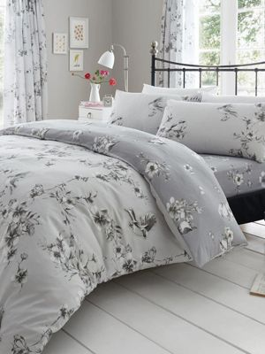 Birdie Blossom Grey Floral Single Duvet Cover and Pillowcase Set
