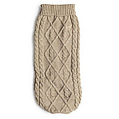 Polo Neck Cable Knit Jumper Oatmeal - L