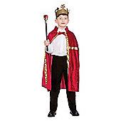 Deluxe Red Velvet Robe & Crown Unisex Childrens Fancy Dress Costume - Red