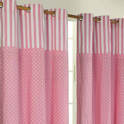Homescapes Polka Dots Pink Ready Made Eyelet Curtain Pair, 137 x 182 cm Drop