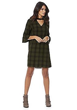 F&F Checked Choker Tunic Dress - Khaki
