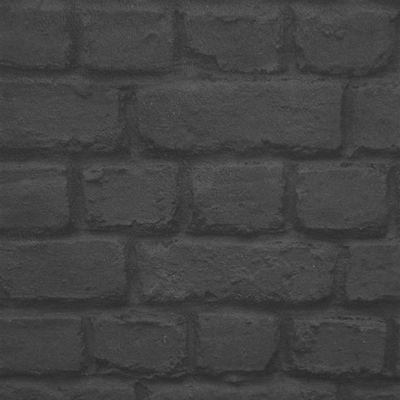 Rasch Black Brick Effect Wallpaper (226744)