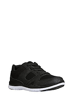 F&F Glitter Mesh Panel Lifestyle Trainers - Black