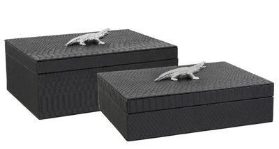 Set Of 2 Black Faux Crocodile Skin Boxes With Silver Crocodile Handles