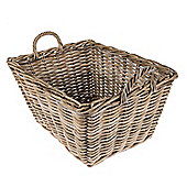 Homescapes Grey Rattan Rectangular Wicker Storage Basket with Handles