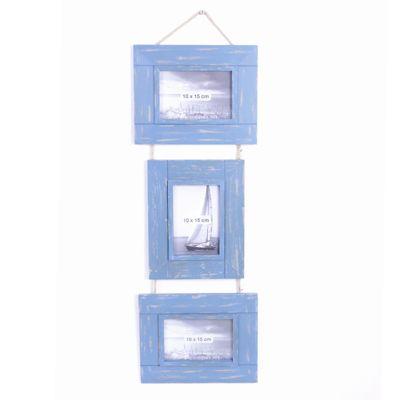 Triple Rustic Blue Finish Photoframe on Jute String Hanger