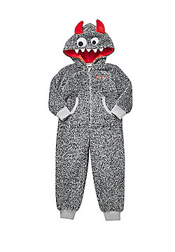 F&F Monster Fleece Hooded Onesie - Grey