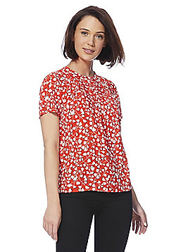 Vila Floral Print Pleat Neck Top - Red