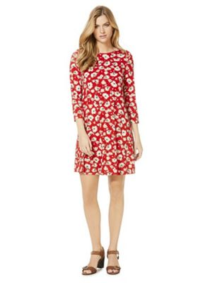 F&F Ditsy Floral Swing Dress Red 6