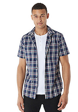 F&F Grandad T-Shirt and Checked Short Sleeve Shirt Set - Navy