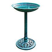 Kingfisher Traditional Pedestal Bird Bath Outdoor Garden Water Resin Wild Bird