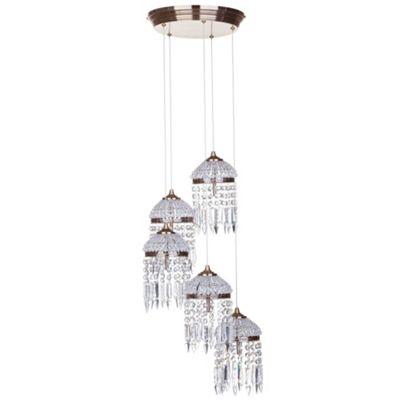 Litecraft Rio 5 Bulb Droplet Cluster Ceiling Pendant, Antique Brass