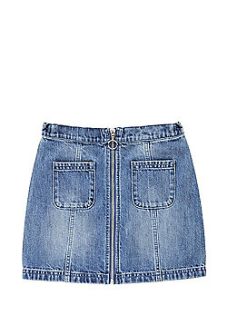 F&F Zip-Through Denim Skirt - Light wash