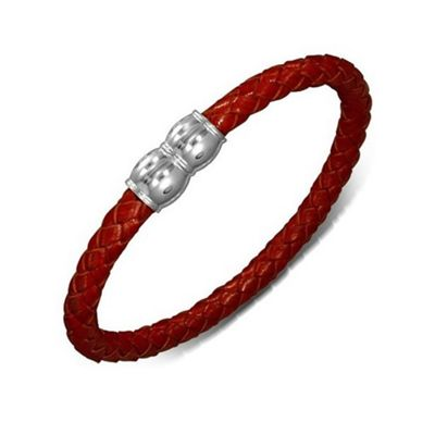 Urban Male Men's Plaited Leather Red Colour Magnetic Bracelet 7mm