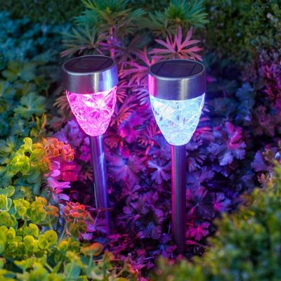 Set of 2 Colour Changing LED Prism Solar Garden Stake Lights