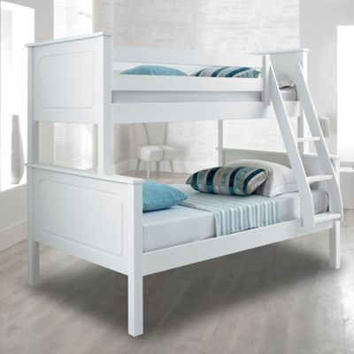 Happy Beds Vancouver Wood Kids Triple Sleeper Bunk Bed with 2 Open Coil Spring Mattresses - White - 4ft Small Double
