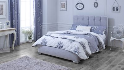 Catherine Lansfield Canterbury Silver Sleigh Bed - Single