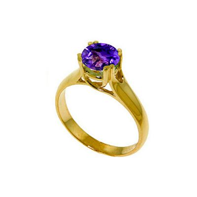 QP Jewellers 1.10ct Amethyst Solitaire Ring in 14K Gold - Size I