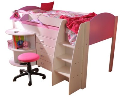 Stompa Rondo Mid Sleeper with 4 Drawer Chest and Extending Desk - Lilac - White