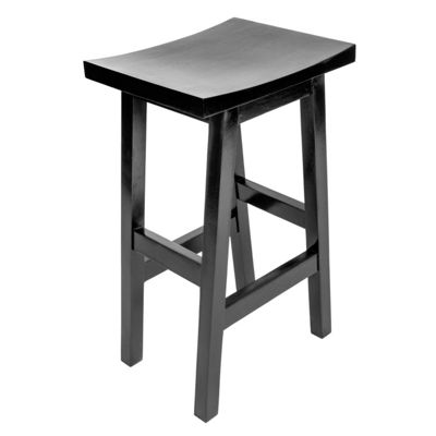 Homescapes Solid Mango Wood Bar Stool Black with Footrests, 75cm Tall